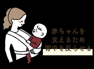 赤ちゃんを支えるため背中を反らせる
